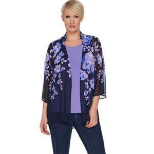 Susan Graver Purple Floral Open Top